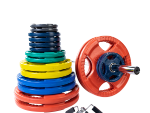 400 lb. Colored Rubber Grip Olympic Plate Set