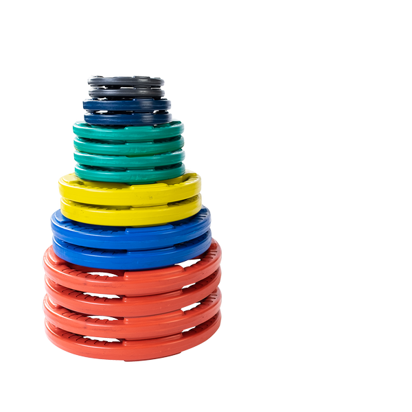 355 lb. Colored Rubber Grip Olympic Plate Set