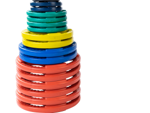 455 lb. Colored Rubber Grip Olympic Plate Set